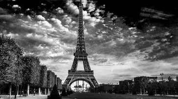 INNES Eiffel Tower Clouds Paris BW